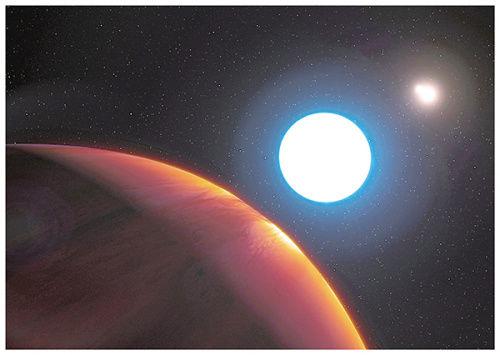 HD 131399Ab(左下)公转周期一半时间可同时看到3个太阳。