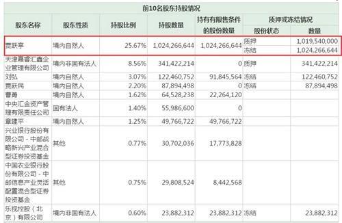 乐视网2017年三季度财报显示,贾跃亭股权全被被冻结。图片来源:财报截图