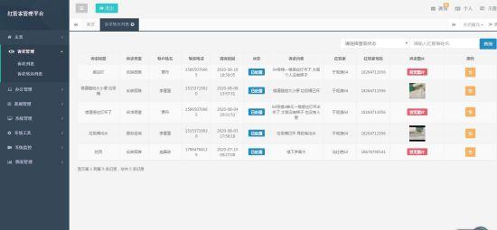 """""""红管家""""管理平台网页页面"""