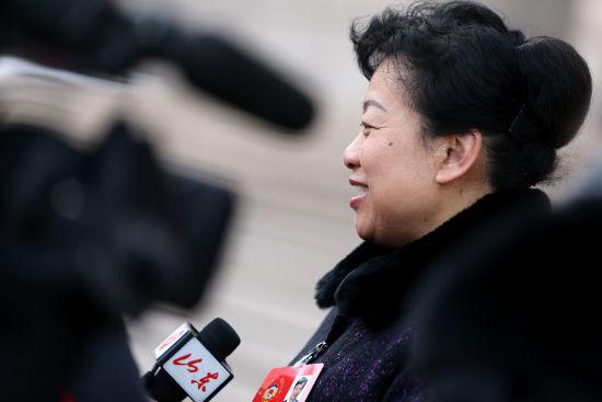 政协委员接受记者采访