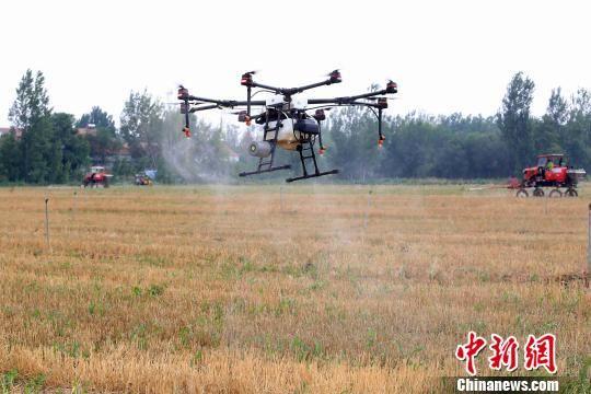 小型植保无人机在工作人员操控下,正在机械化作业。 孙婷婷 摄